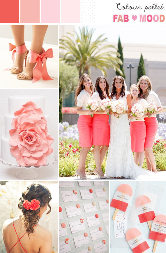 coral pink wedding colour palette, coral peach pink wedding mood board