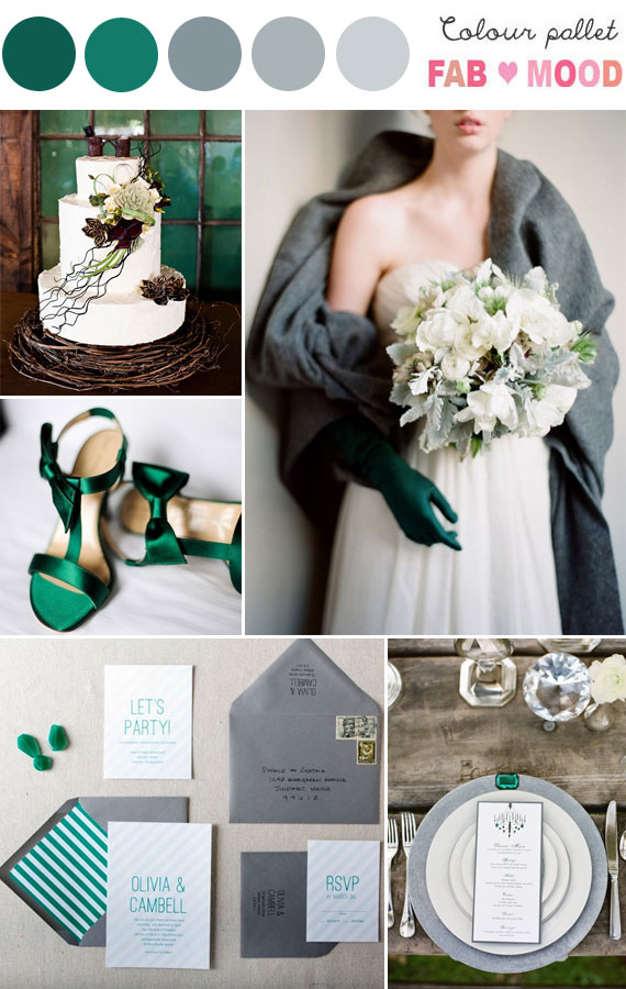 Grey & Emerald Wedding Colour Palette
