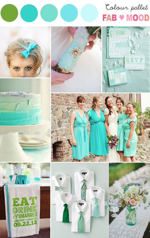 Shades of aqua green wedding colors