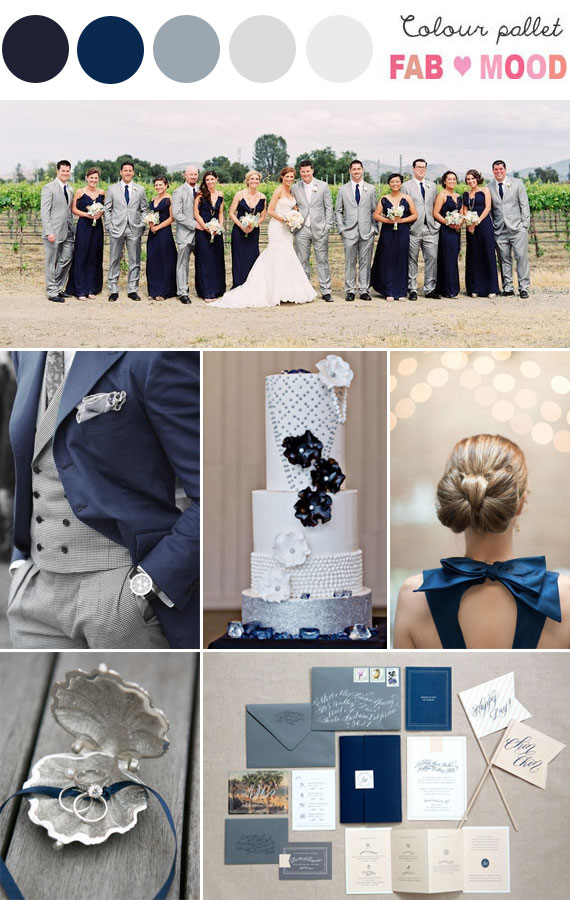 navy blue silver grey wedding idea, navy grey wedding colour board