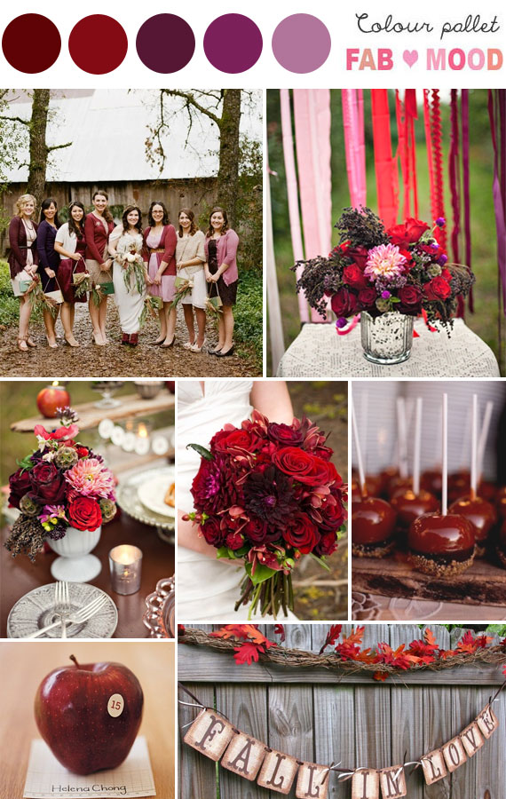 Deep Red Purple Autumn Inspiration Board 1 Fab Mood Wedding