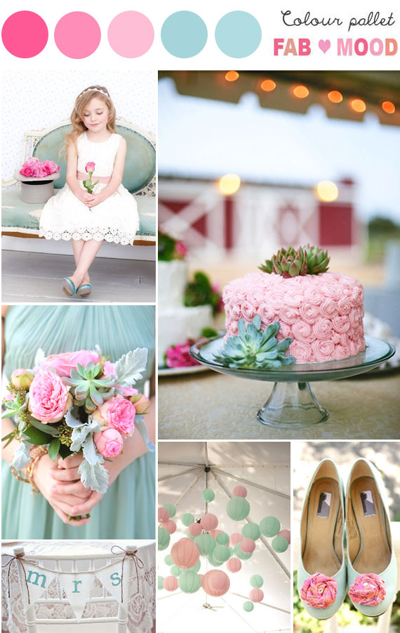 mint pink wedding inspiration board