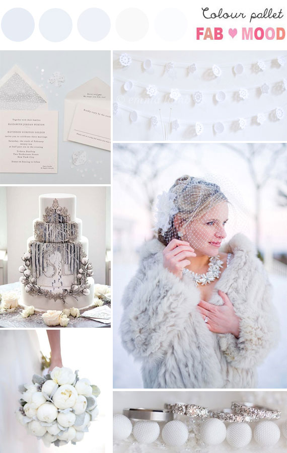 Sparkly White Winter Wedding Board
