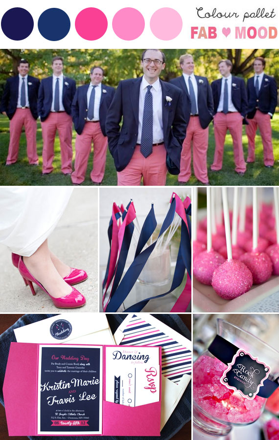 Blue and hot pink wedding colors for Navy blue and pink wedding
