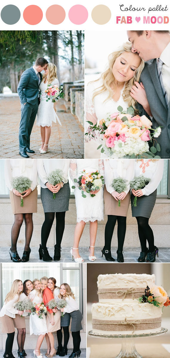 coral neutral mint grey wedding ideas, coral mint bouquet
