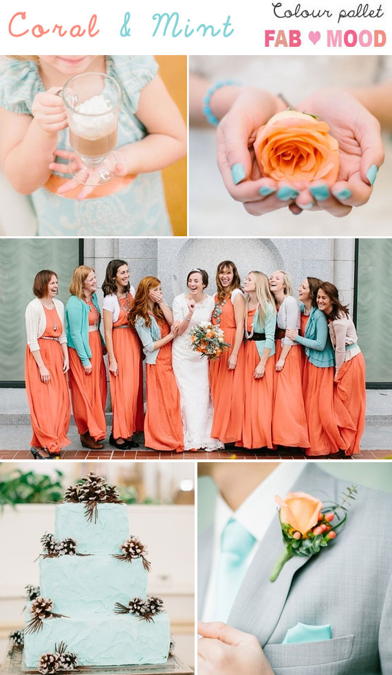 Coral Mint Wedding Color Boardcoral Colors Winter