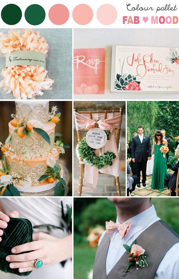 emerald peach wedding theme,emerald peach wedding idea