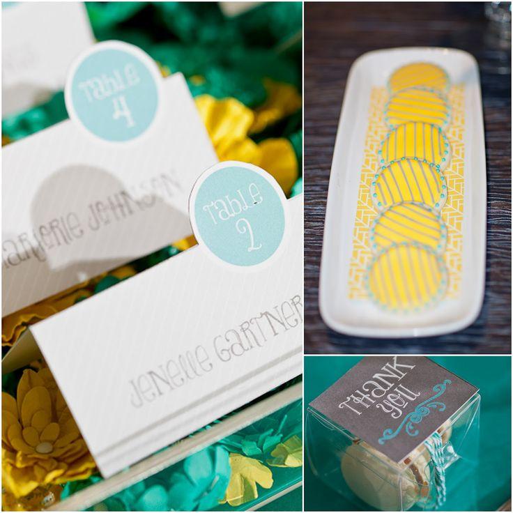 Aqua and yellow wedding