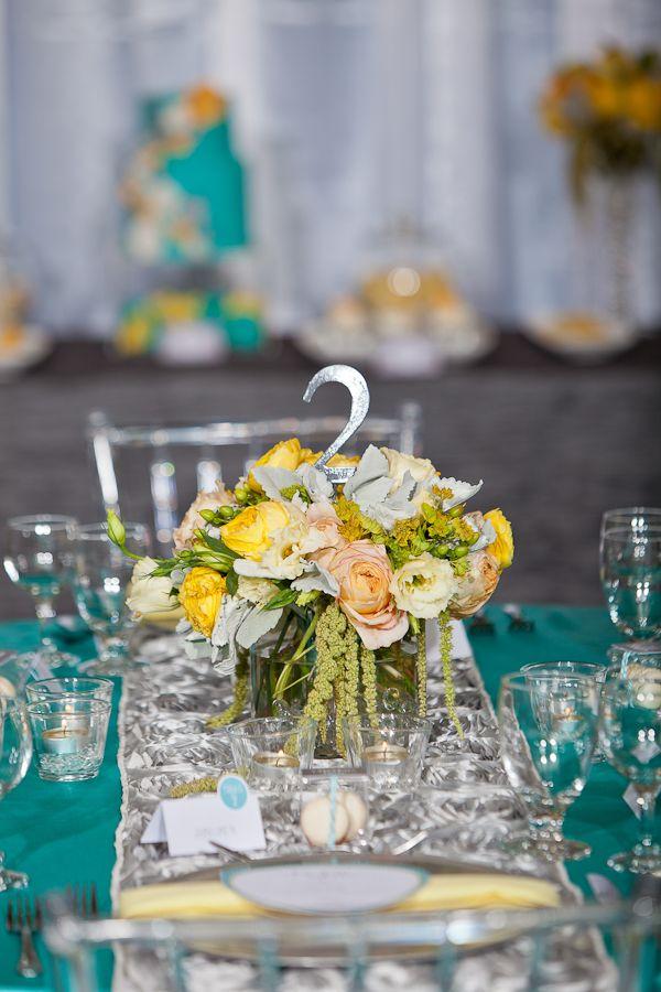 Aqua Yellow Wedding Tablescape