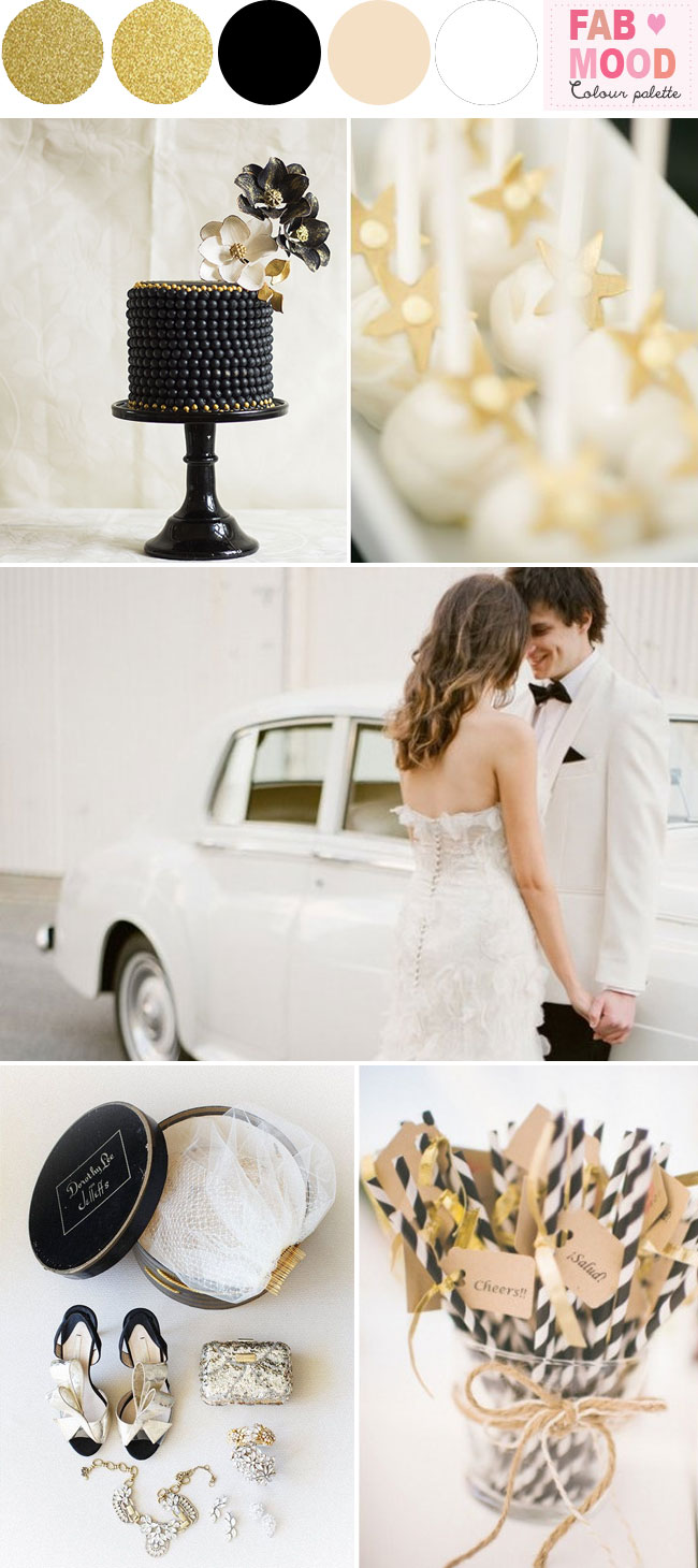 black white gold wedding colors palette ideas. Black Bedroom Furniture Sets. Home Design Ideas
