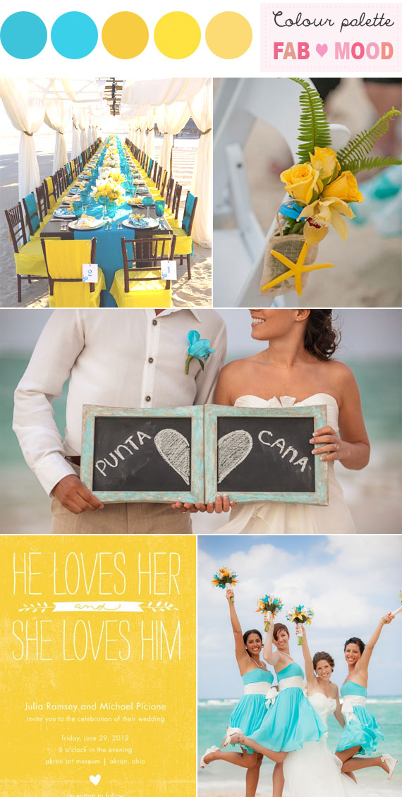 Blue Yellow Beach Wedding, Blue Yellow Wedding Colors