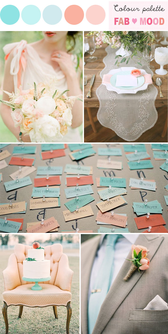 Peach shabby chic wedding,Tiffany blue and Peach Wedding Palette