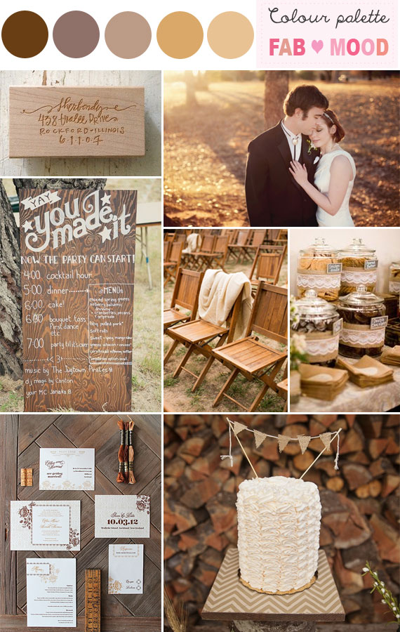 brown wedding ideas, caremel pecan wedding color