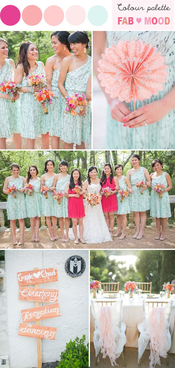 Hot Pink Mint Peach Wedding Colors Palette
