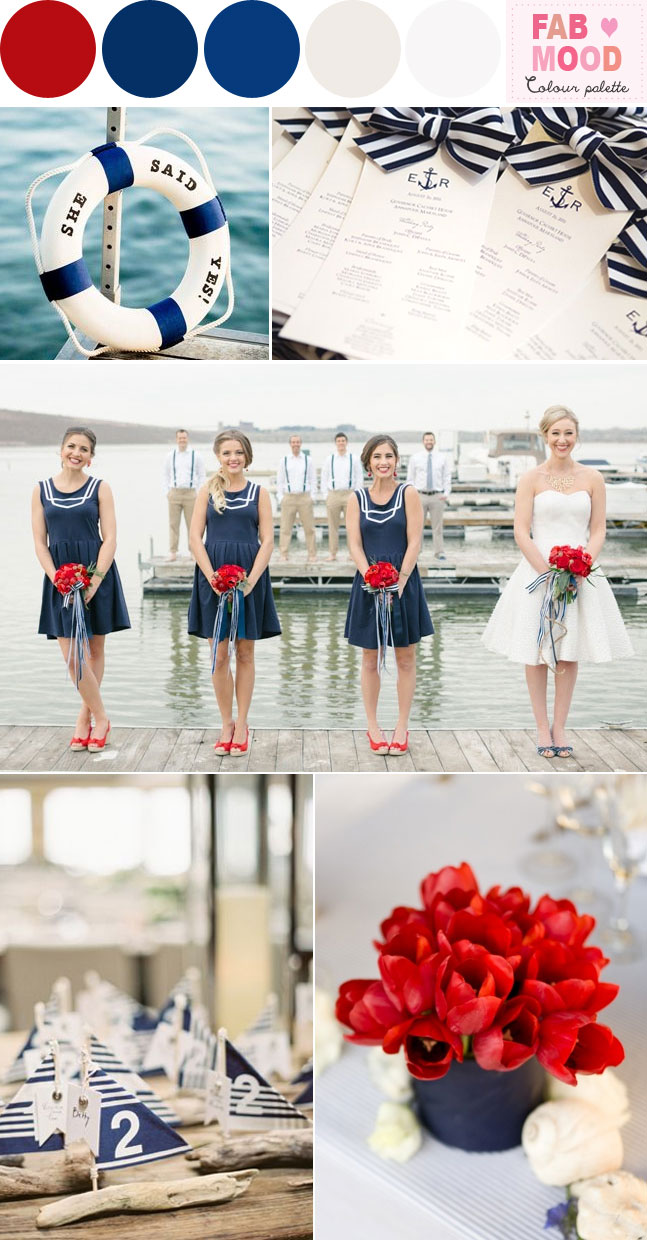 nautical red wedding theme ideas