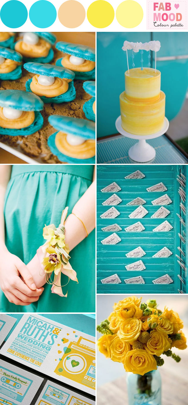 aqua yellow beach wedding fab mood