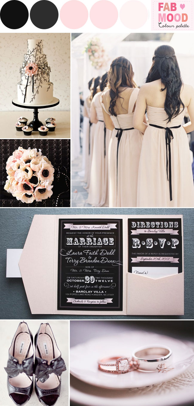 blush black wedding ideas