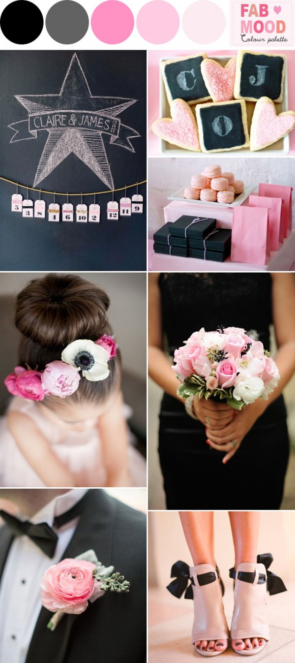 pink black wedding ideas,Pink bouquet black ribbon