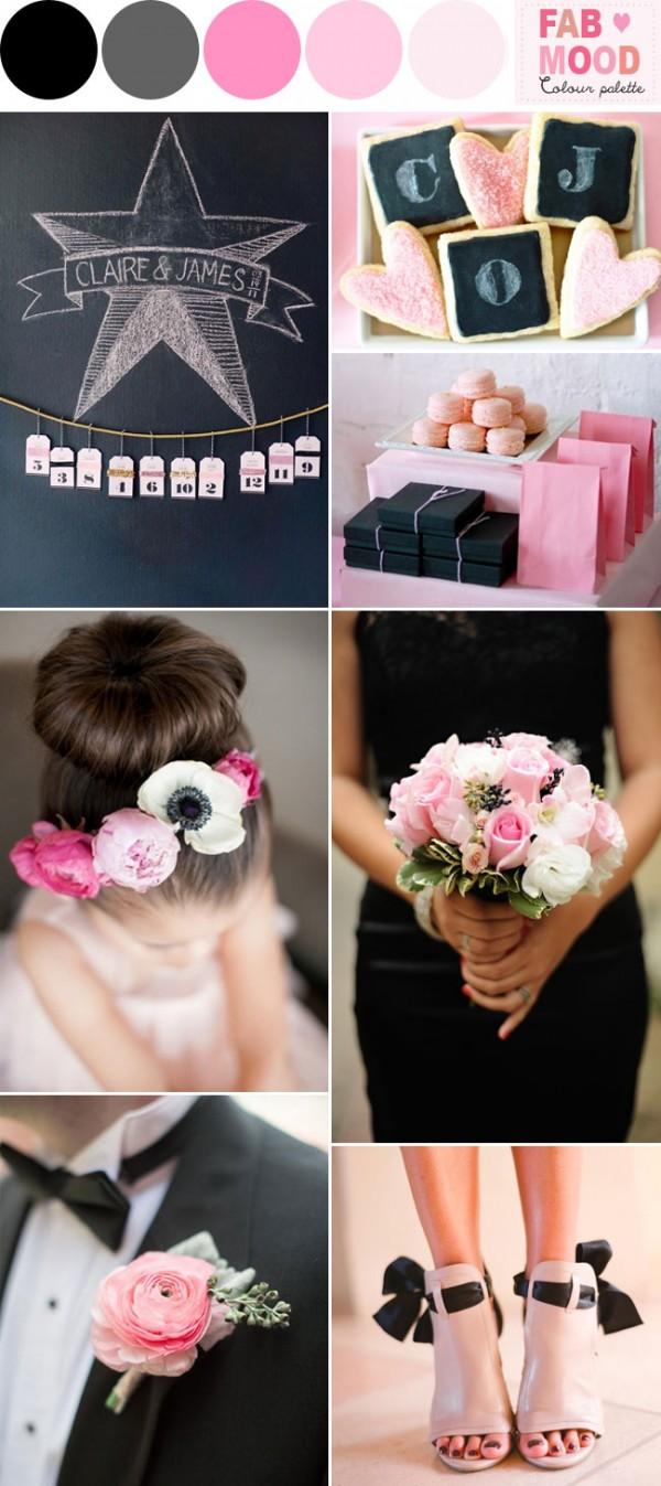 pink black wedding ideas,Pink bouquet black ribbon