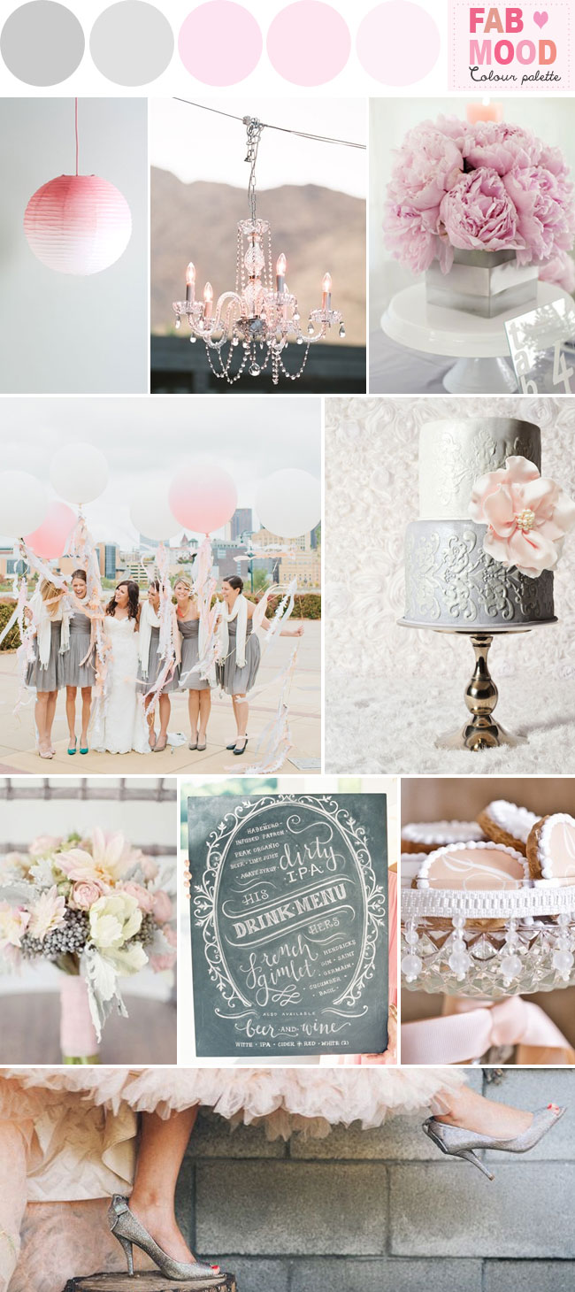 grey pink wedding colors,grey and pink wedding color scheme,grey pink wedding theme,grey pink wedding ideas, fab mood wedding board,grey pink wedding color palette,chalk board wedding menu,grey wedding cake,silver wedding cake