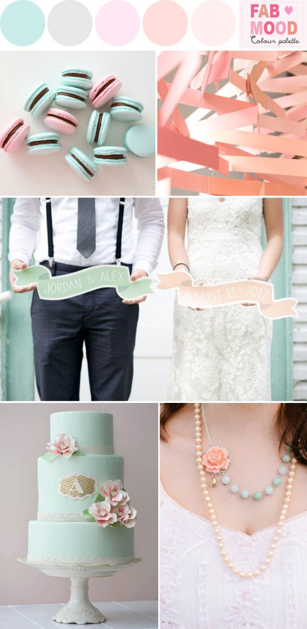 mint pink peach wedding ideas, fab mood wedding board