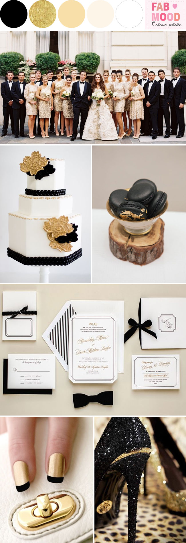 Glamour Wedding Ideas Black Gold Weding Theme
