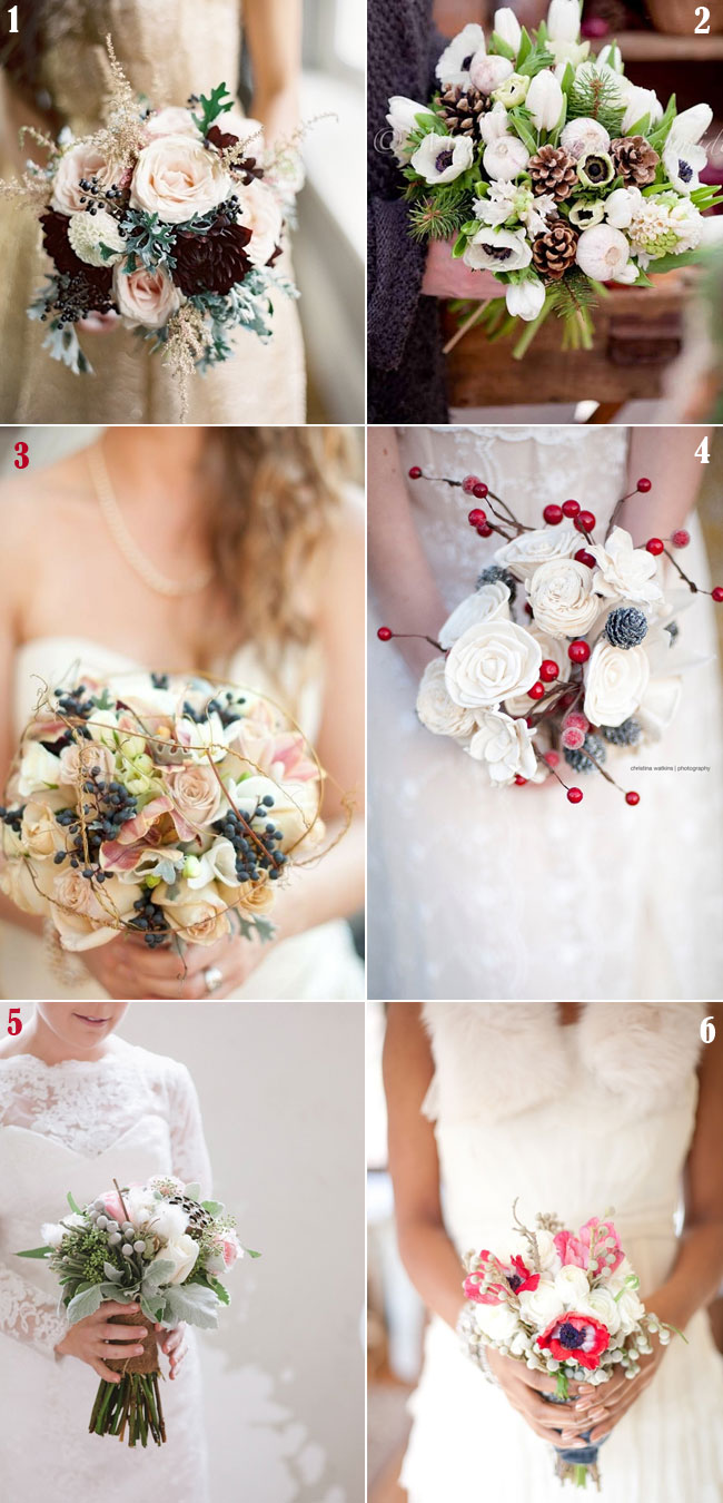 winter wedding bouquet ideas,winter bridal wedding bouquet