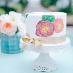 spring watercolor flower cake, wedding cake
