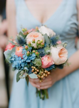 peach, coral, aqua bouquet