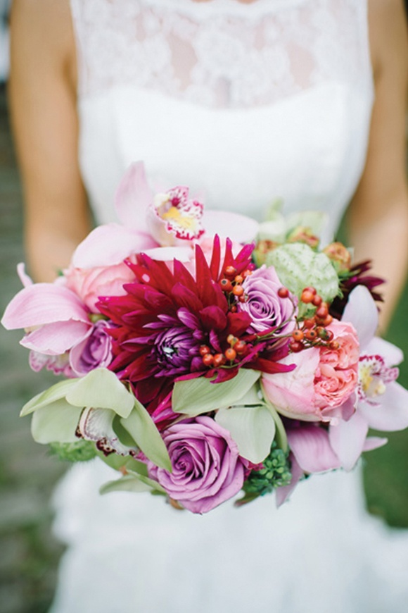 red pink wedding bouquet