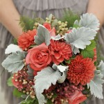 wedding bouquets,green and poppy colored bouquet