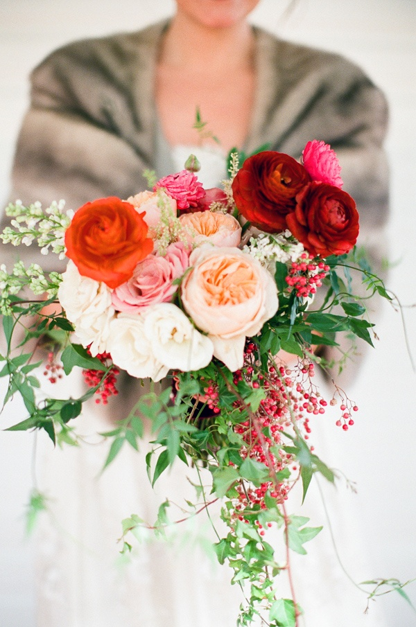 wedding bouquets,pink, red and peach bouquet
