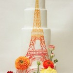 eiffel tower painted tiered wedding cake
