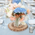peach and blue hydrangea centerpiece