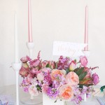 pastel wedding centerpieces, centerpieces,Pastel peach and purple centerpiece
