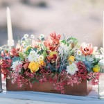 Bright Wildflower Arrangement in Wooden Box, wooden box centerpieces
