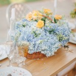 Powder blue hydrangea wedding centerpiece