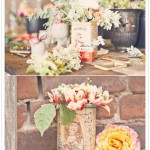 Tea tin wedding centerpieces