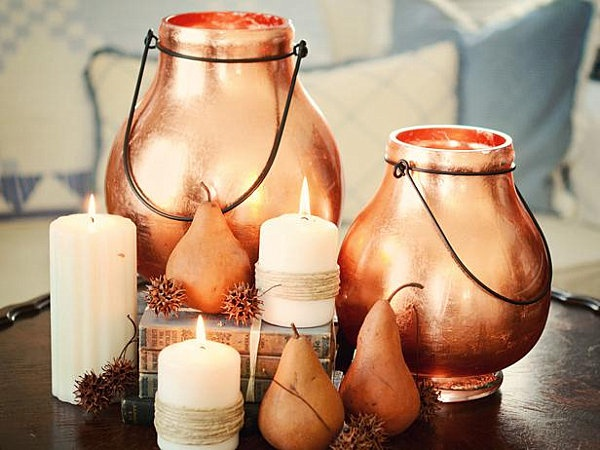 candle wedding centerpieces,autumn wedding centerpieces,copper wedding centerpieces