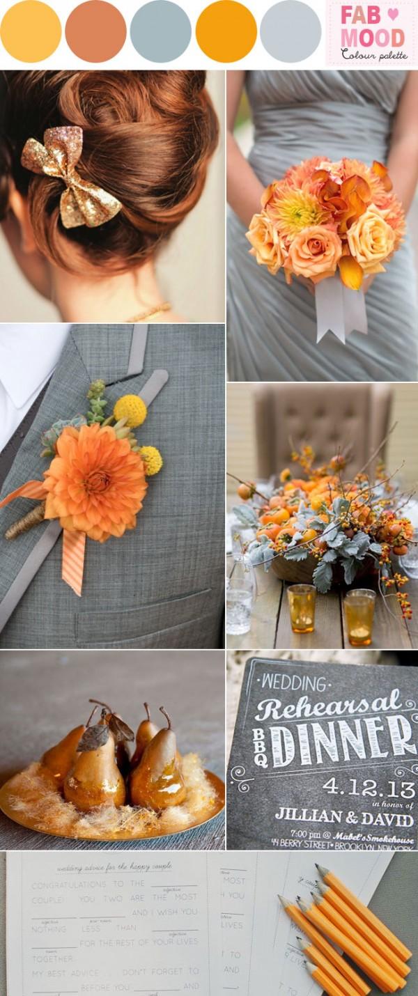 orange grey wedding ideaas,fabmood, marigold pewter wedding