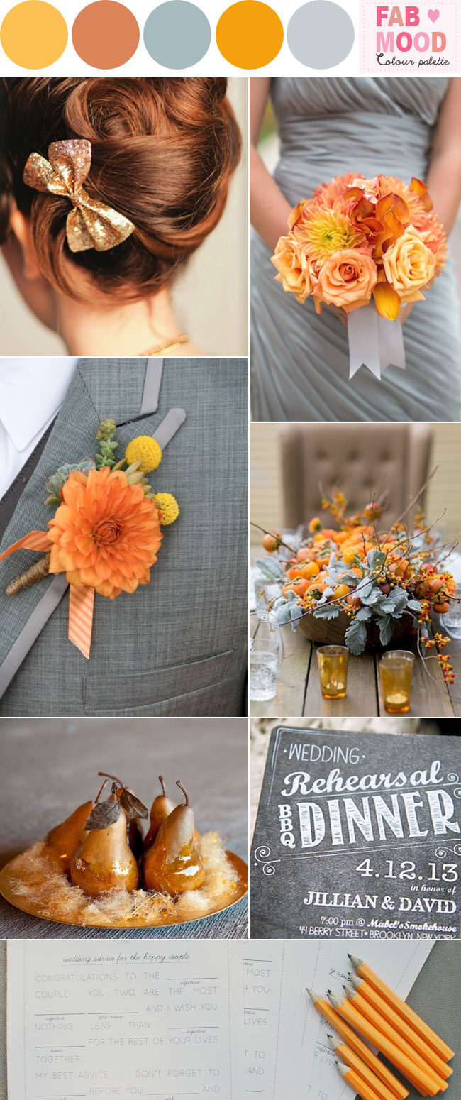 marigold and grey wedding,marigold and gray wedding,marigold grey wedding color palette,orange grey wedding ideaas,fabmood, marigold pewter wedding