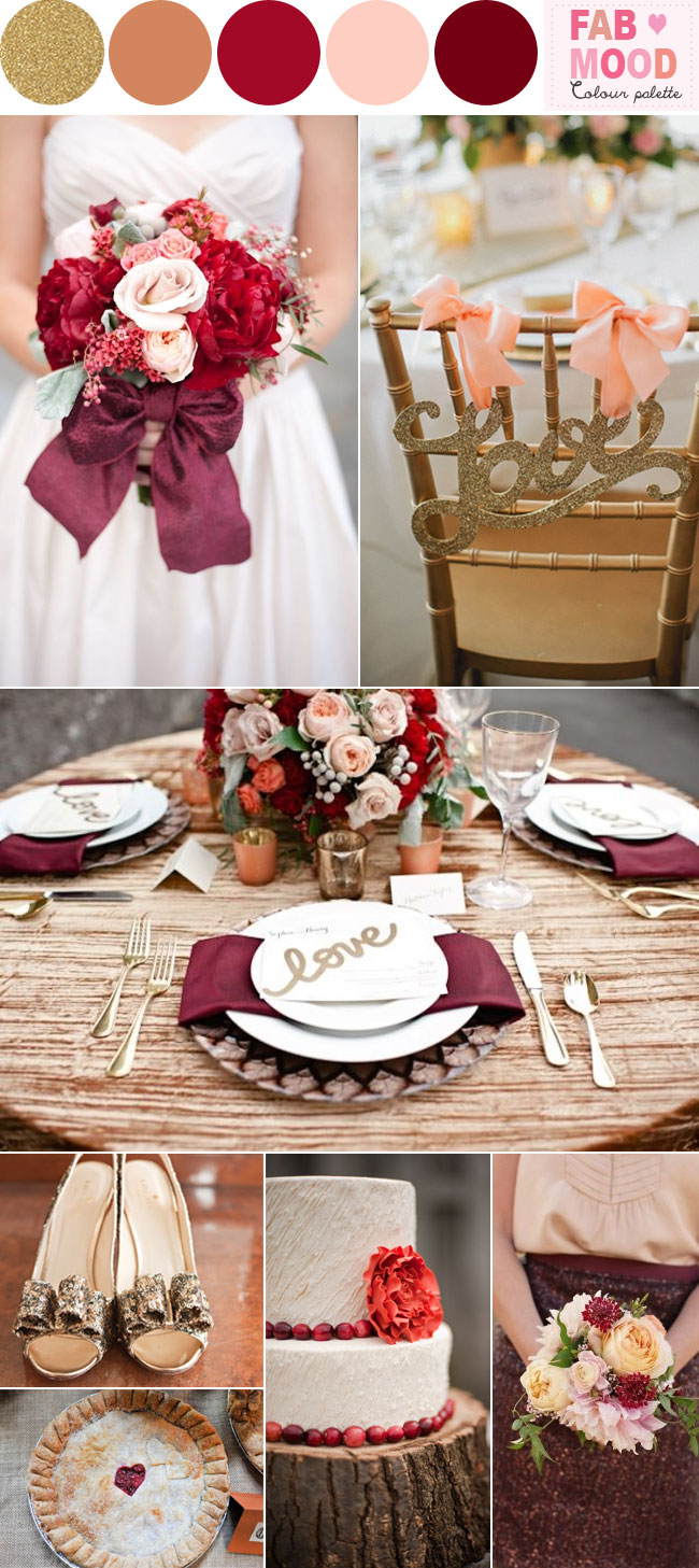Burgundy Gold Peach Wedding Color Autumn Colours Palette