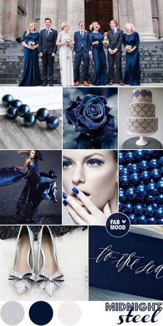 midnight blue steel silver wedding, dark blue wedding,midnight blue wedding,midnight blue silver wedding,midnight blue inspiration board,midnight blue wedding color palette