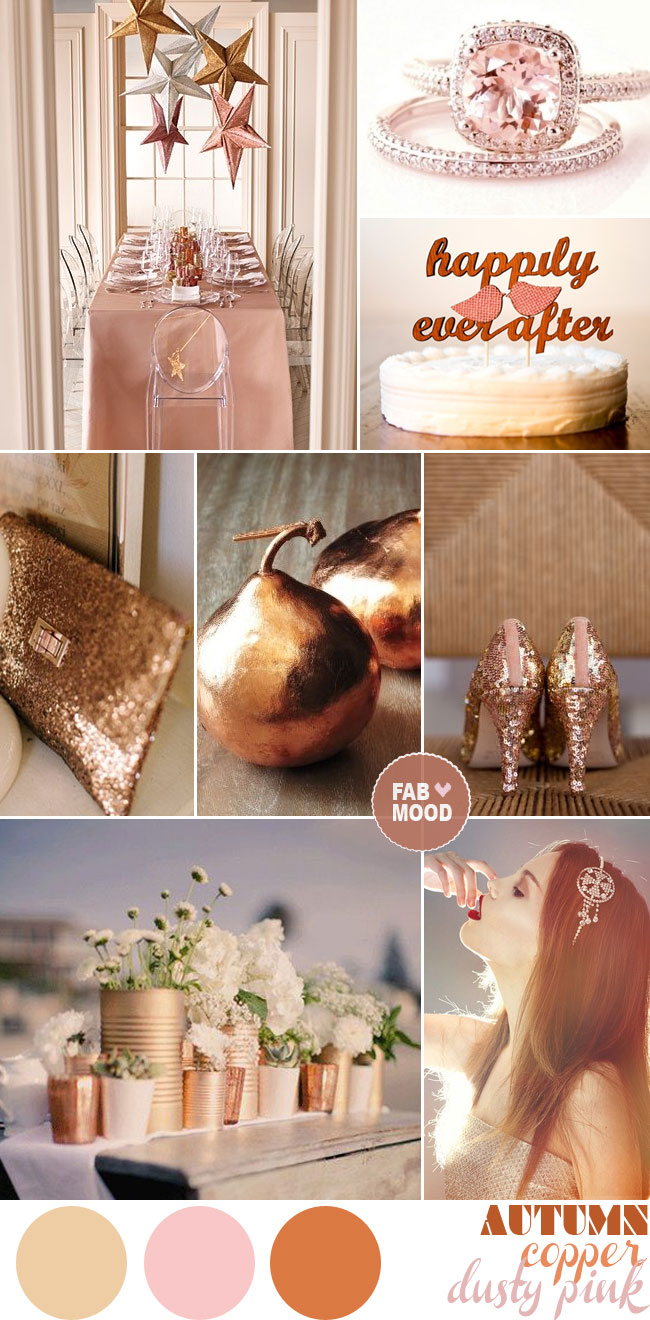 copper gold pink autumn wedding colour palette,copper autumn wedding,copper wedding ideas,copper autumn inspiration,red brown wedding