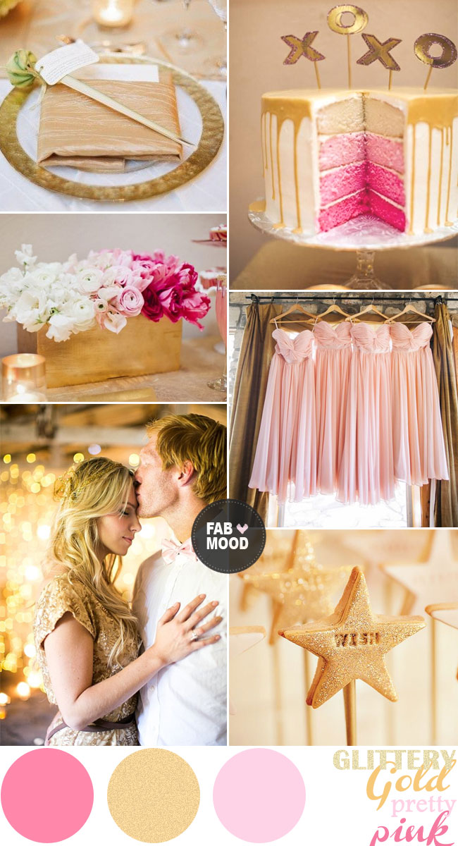 Pretty Shades of Pink and Gold Wedding Colors Palette Inspiration