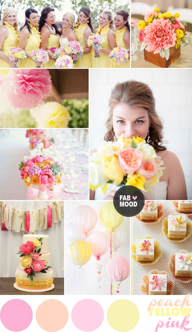 Pink Yellow Peach Wedding Color Palette Ideas