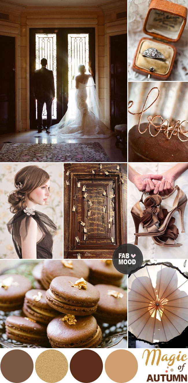 Autumn Wedding Colour Palette, Brown and Gold autumn wedding colours