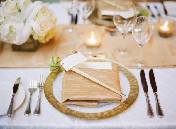 Gold And Champagne Reception Table Setting Fab Mood
