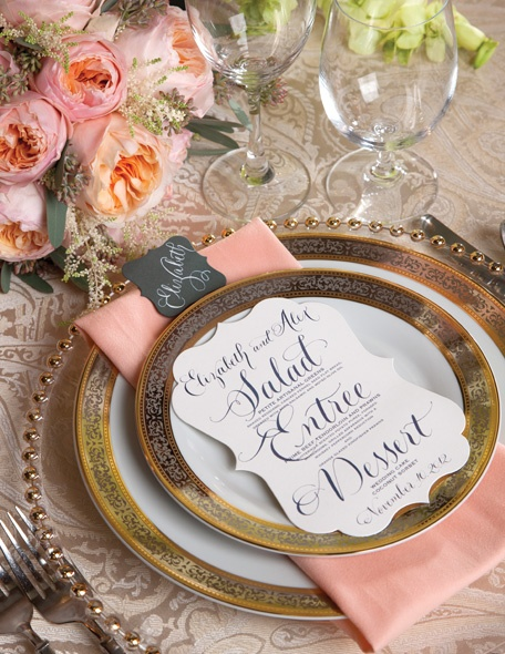 pink and gold wedding table settings
