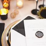 wedding table setting ideas,Elegant black and gold place setting